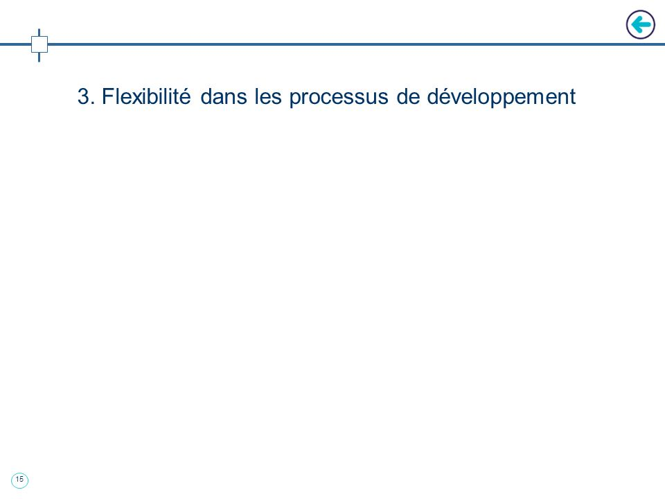 14 2 ème approche : flexible « Overlap » : permet une approche itérative Modèle adaptée aux évolutions technologiques fréquentes du marché informatiqu