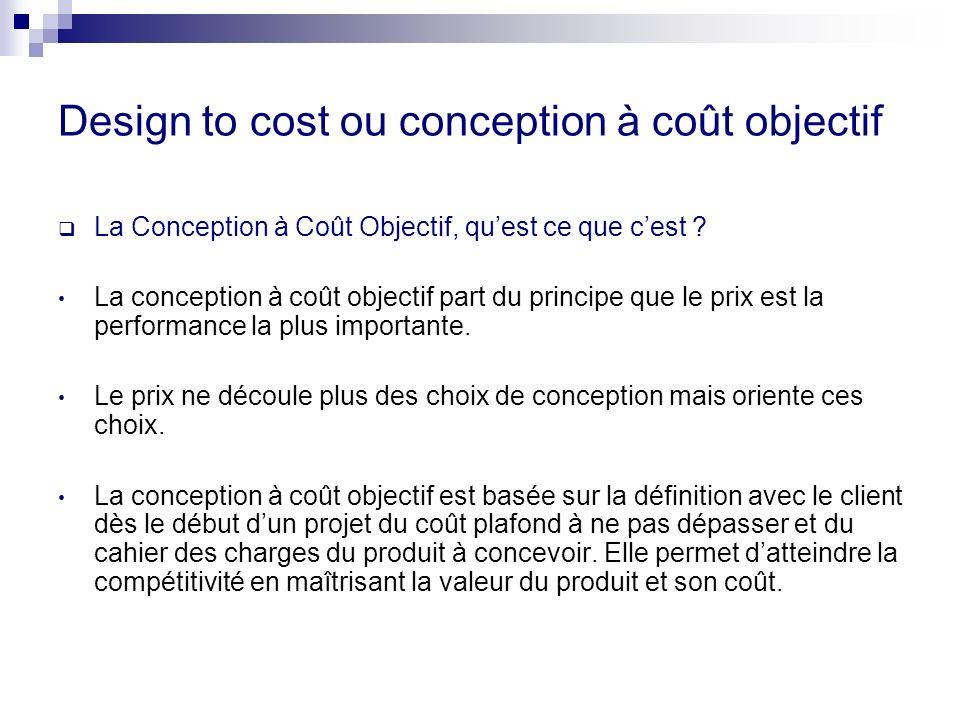 Design to cost ou conception à coût objectif La Conception à Coût Objectif, quest ce que cest ? La conception à coût objectif part du principe que le