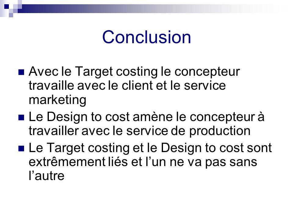 Conclusion Avec le Target costing le concepteur travaille avec le client et le service marketing Le Design to cost amène le concepteur à travailler av