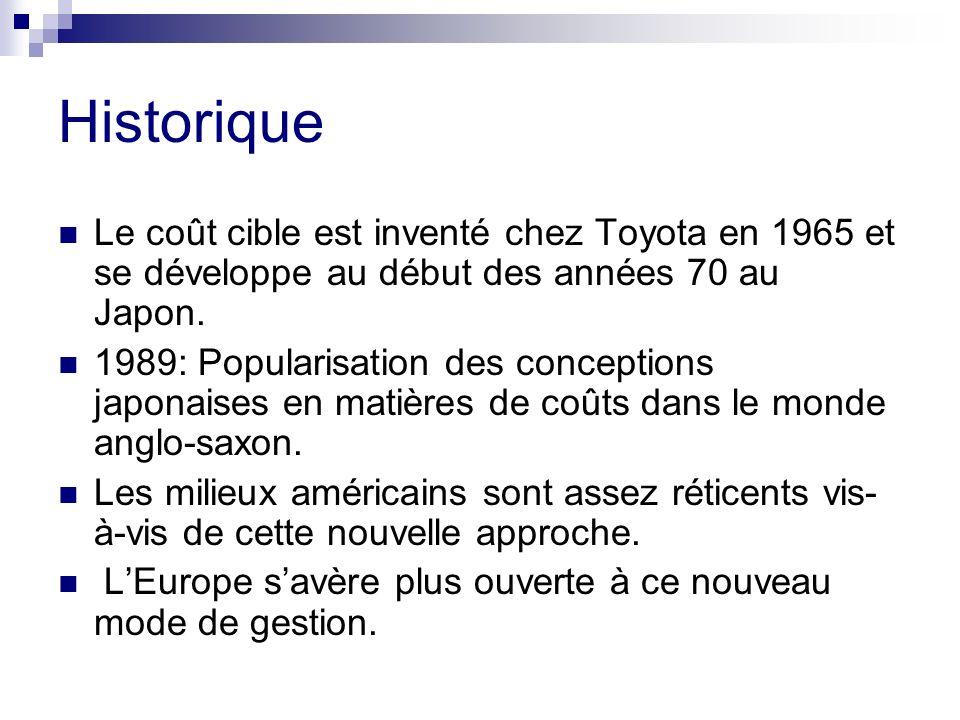 Historique Le coût cible est inventé chez Toyota en 1965 et se développe au début des années 70 au Japon. 1989: Popularisation des conceptions japonai