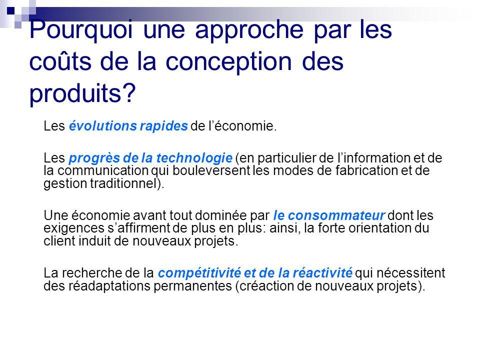Pourquoi une approche par les coûts de la conception des produits? Les évolutions rapides de léconomie. Les progrès de la technologie (en particulier
