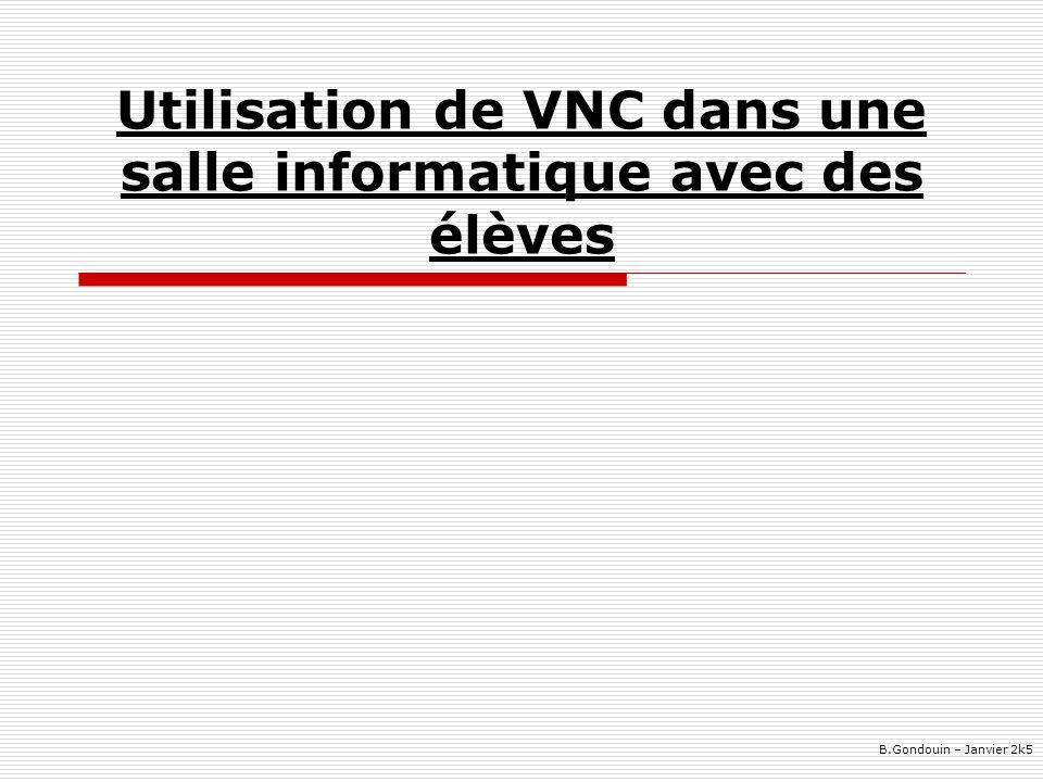 Utilisation de VNC dans une salle informatique avec des élèves B.Gondouin – Janvier 2k5