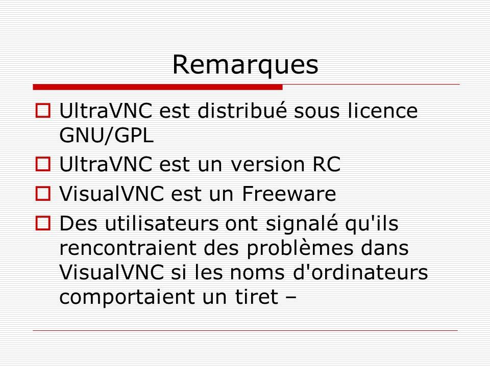 Remarques UltraVNC est distribué sous licence GNU/GPL UltraVNC est un version RC VisualVNC est un Freeware Des utilisateurs ont signalé qu'ils rencont