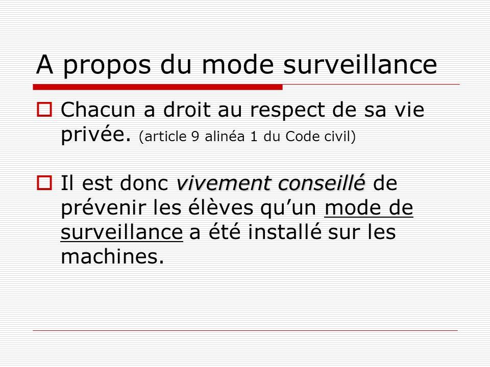A propos du mode surveillance Chacun a droit au respect de sa vie privée. (article 9 alinéa 1 du Code civil) vivement conseillé Il est donc vivement c