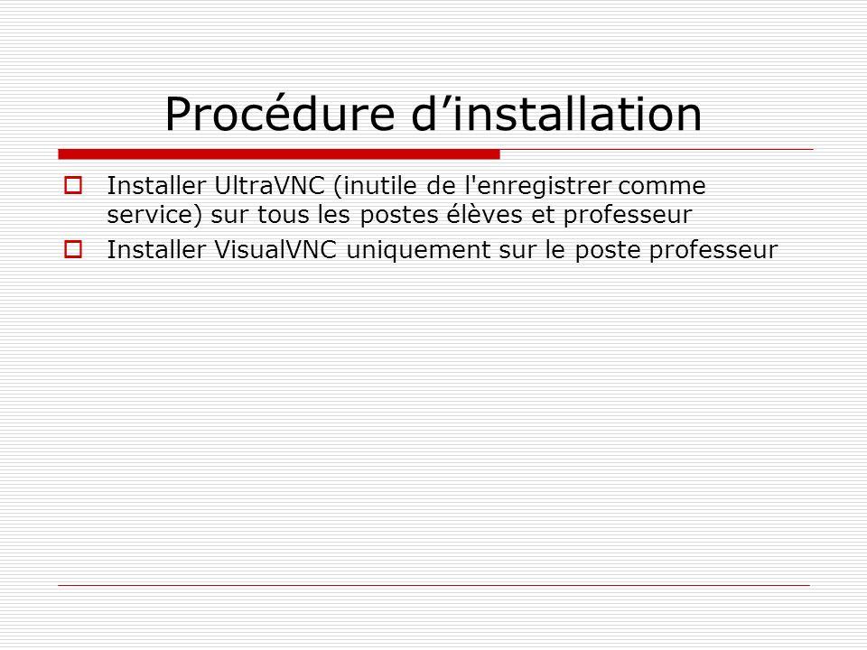 Procédure dinstallation Installer UltraVNC (inutile de l'enregistrer comme service) sur tous les postes élèves et professeur Installer VisualVNC uniqu