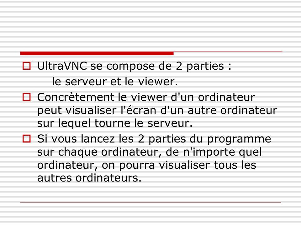 UltraVNC se compose de 2 parties : le serveur et le viewer. Concrètement le viewer d'un ordinateur peut visualiser l'écran d'un autre ordinateur sur l