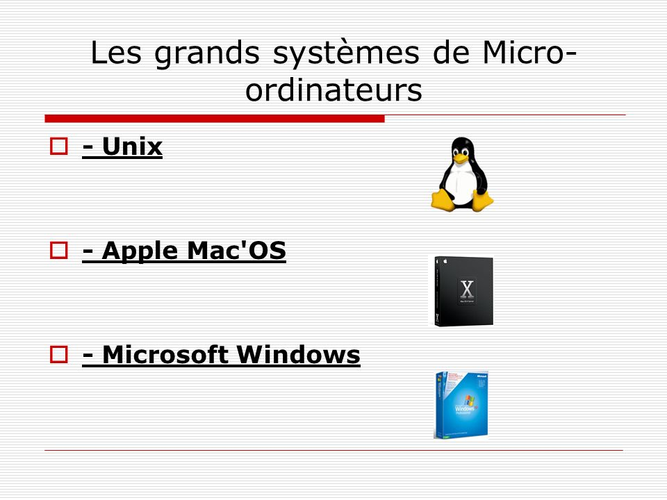 Les grands systèmes de Micro- ordinateurs - Unix - Apple Mac'OS - Microsoft Windows