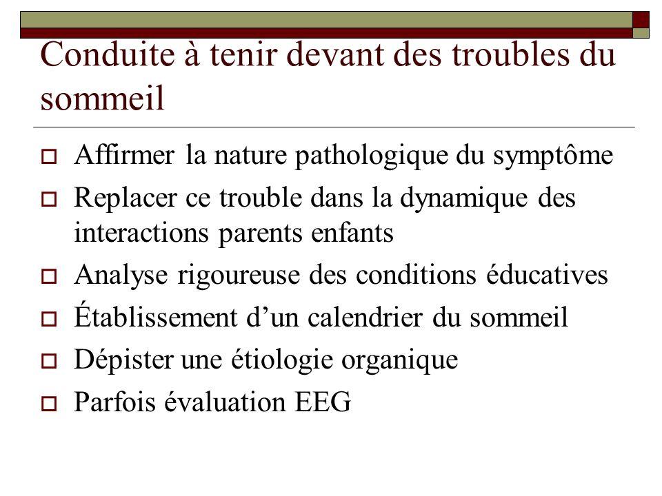 Conduite à tenir devant des troubles du sommeil Affirmer la nature pathologique du symptôme Replacer ce trouble dans la dynamique des interactions parents enfants Analyse rigoureuse des conditions éducatives Établissement dun calendrier du sommeil Dépister une étiologie organique Parfois évaluation EEG