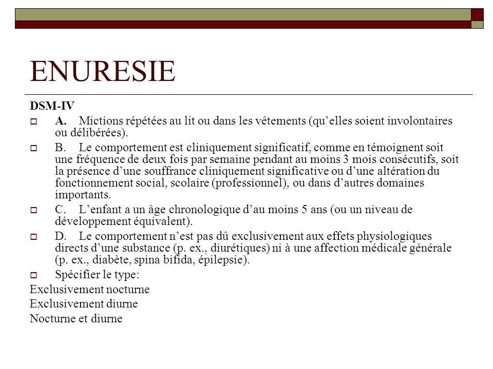 ENURESIE DSM-IV A.Mictions répétées au lit ou dans les vêtements (quelles soient involontaires ou délibérées).