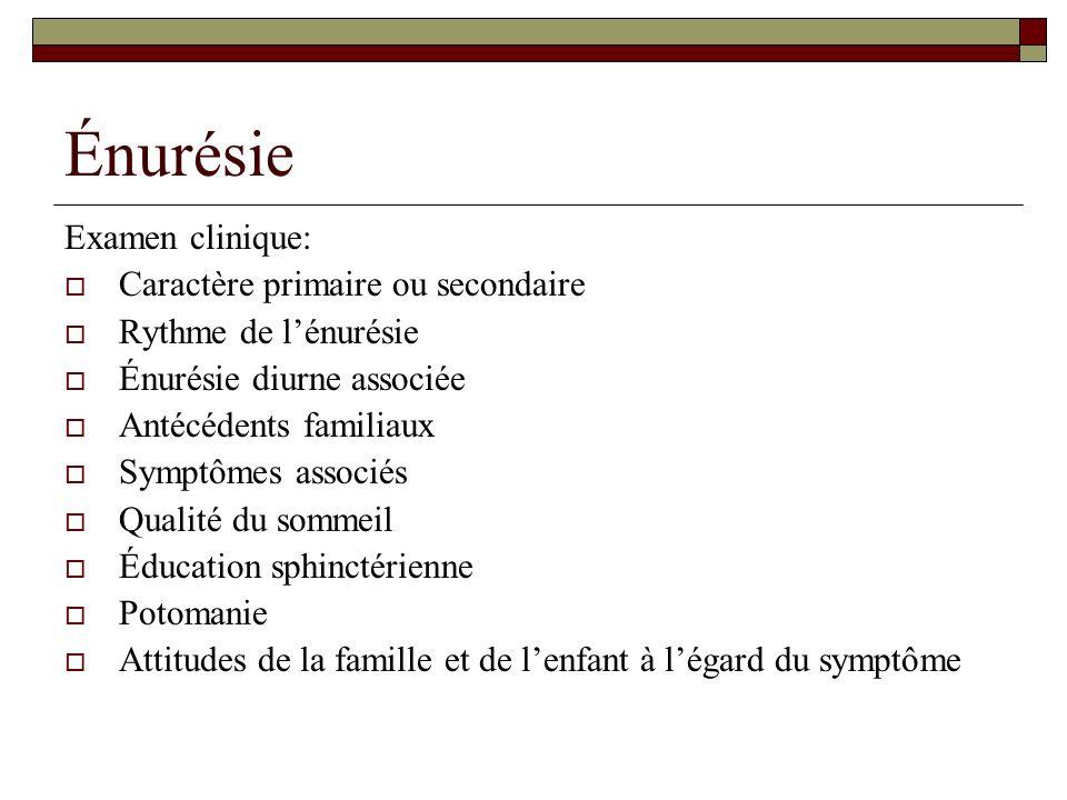 Énurésie Examen clinique: Caractère primaire ou secondaire Rythme de lénurésie Énurésie diurne associée Antécédents familiaux Symptômes associés Quali