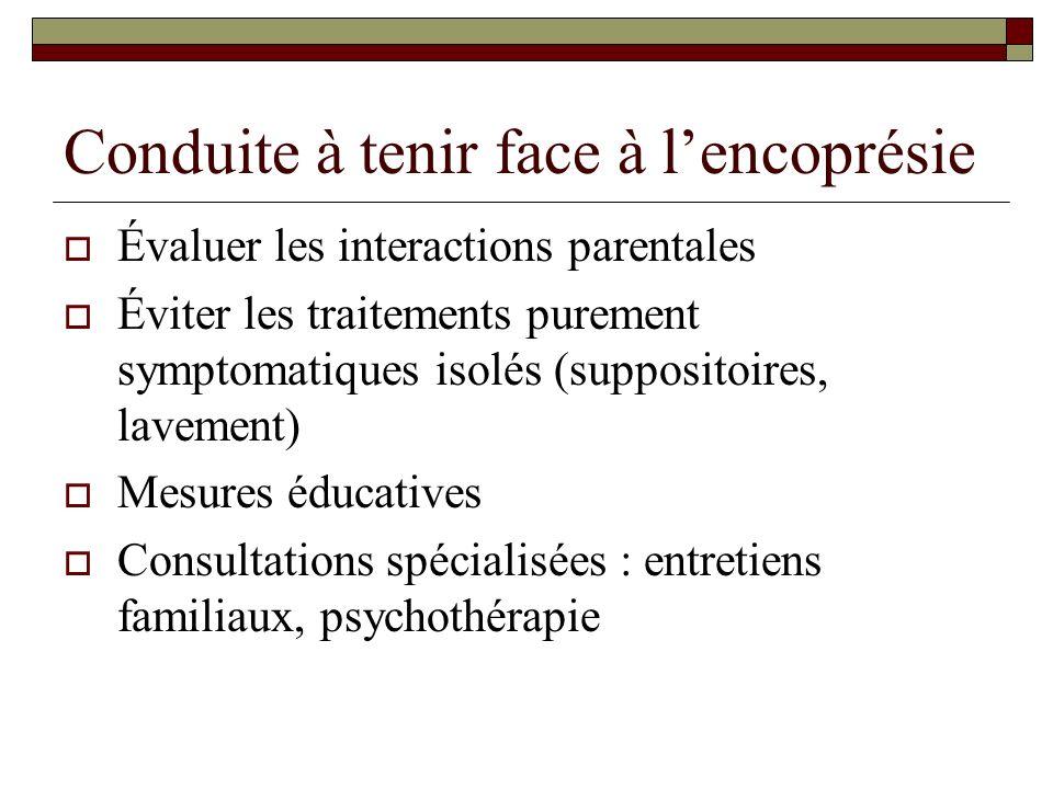 Conduite à tenir face à lencoprésie Évaluer les interactions parentales Éviter les traitements purement symptomatiques isolés (suppositoires, lavement