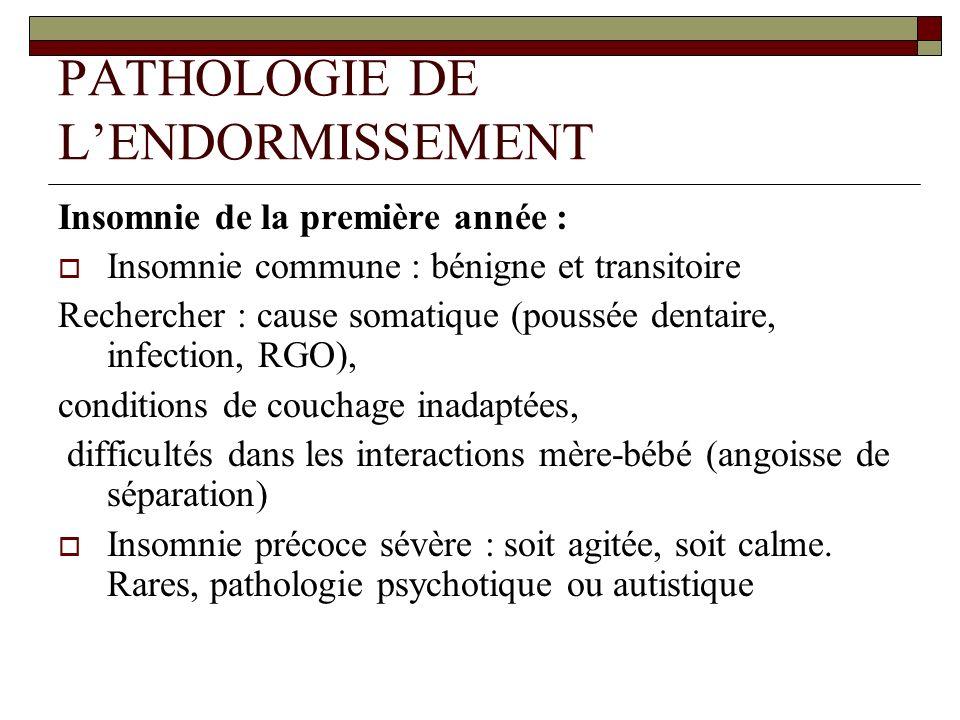 PATHOLOGIE DE LENDORMISSEMENT Insomnie de la première année : Insomnie commune : bénigne et transitoire Rechercher : cause somatique (poussée dentaire