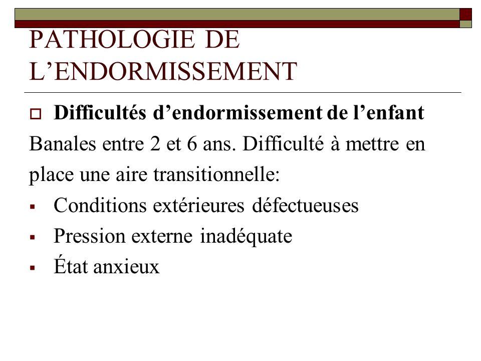 PATHOLOGIE DE LENDORMISSEMENT Difficultés dendormissement de lenfant Banales entre 2 et 6 ans. Difficulté à mettre en place une aire transitionnelle: