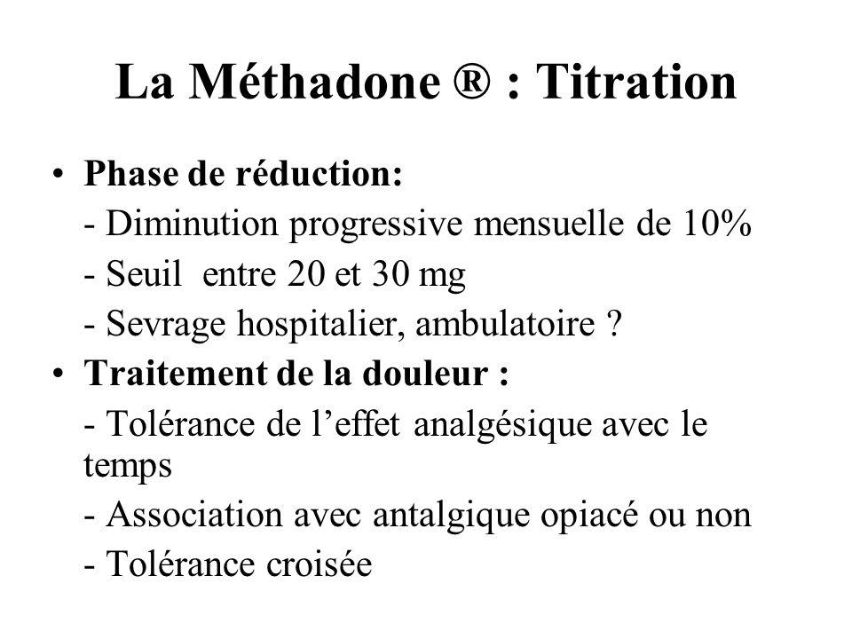 La Méthadone ® : Titration Phase de réduction: - Diminution progressive mensuelle de 10% - Seuil entre 20 et 30 mg - Sevrage hospitalier, ambulatoire