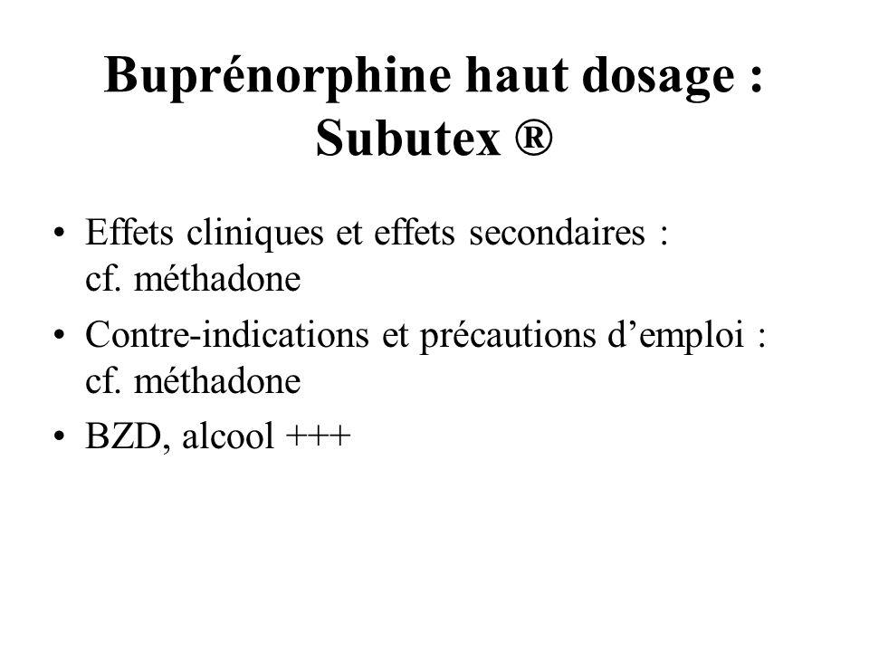 Buprénorphine haut dosage : Subutex ® Effets cliniques et effets secondaires : cf. méthadone Contre-indications et précautions demploi : cf. méthadone