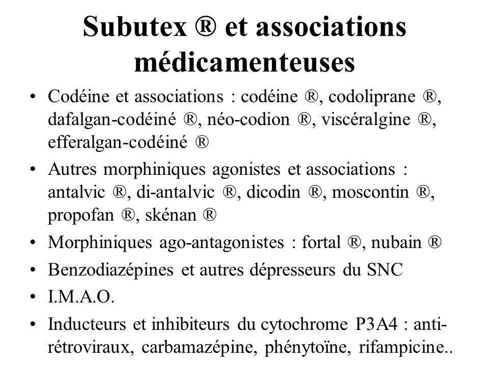 Subutex ® et associations médicamenteuses Codéine et associations : codéine ®, codoliprane ®, dafalgan-codéiné ®, néo-codion ®, viscéralgine ®, effera