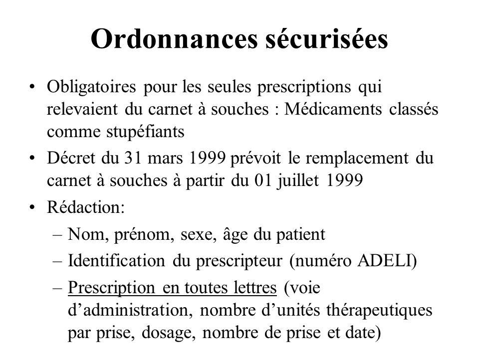 Ordonnances sécurisées Obligatoires pour les seules prescriptions qui relevaient du carnet à souches : Médicaments classés comme stupéfiants Décret du