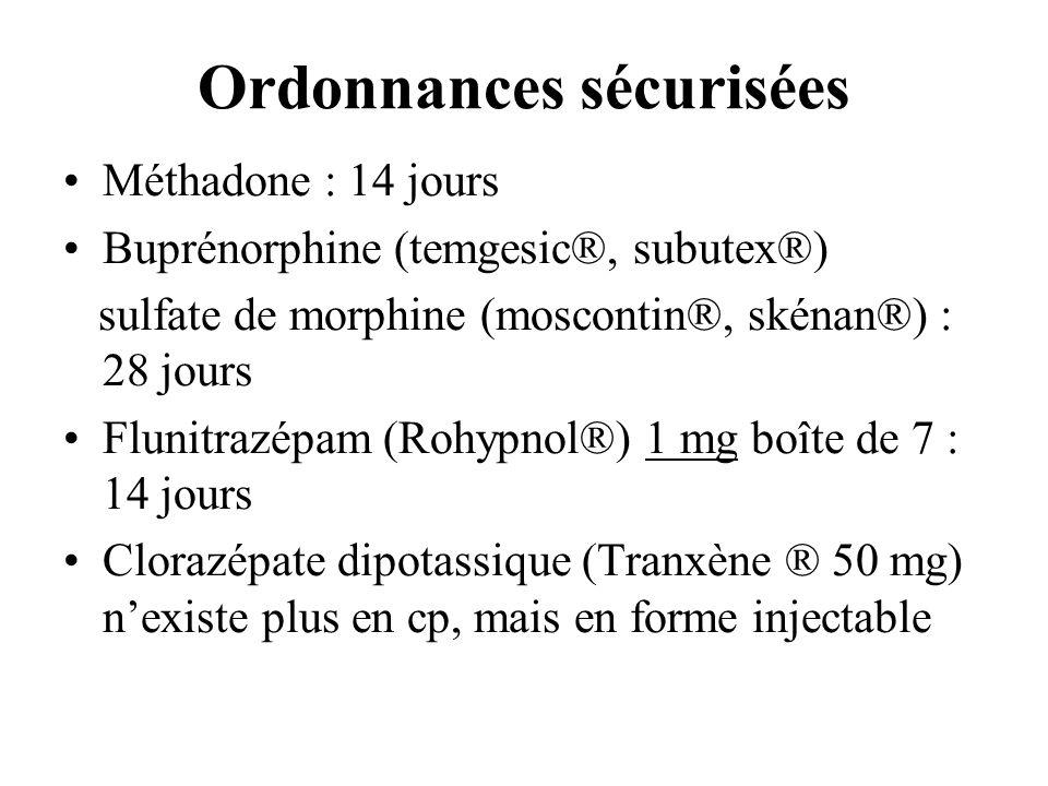Ordonnances sécurisées Méthadone : 14 jours Buprénorphine (temgesic®, subutex®) sulfate de morphine (moscontin®, skénan®) : 28 jours Flunitrazépam (Ro