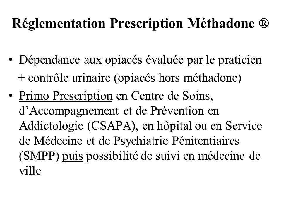 Réglementation Prescription Méthadone ® Dépendance aux opiacés évaluée par le praticien + contrôle urinaire (opiacés hors méthadone) Primo Prescriptio
