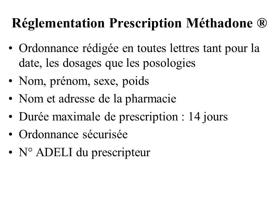 Réglementation Prescription Méthadone ® Ordonnance rédigée en toutes lettres tant pour la date, les dosages que les posologies Nom, prénom, sexe, poid