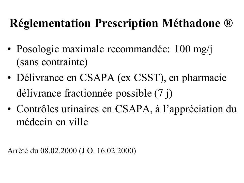 Réglementation Prescription Méthadone ® Posologie maximale recommandée: 100 mg/j (sans contrainte) Délivrance en CSAPA (ex CSST), en pharmacie délivra