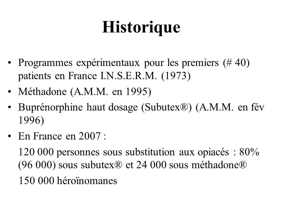 Historique Programmes expérimentaux pour les premiers (# 40) patients en France I.N.S.E.R.M. (1973) Méthadone (A.M.M. en 1995) Buprénorphine haut dosa