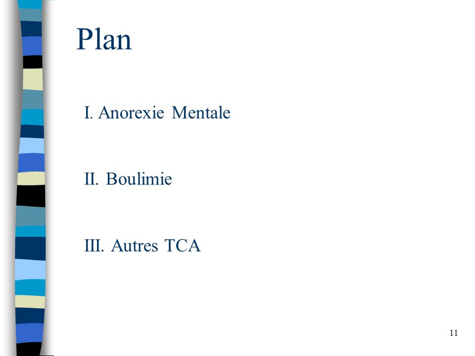 11 Plan I. Anorexie Mentale II. Boulimie III. Autres TCA