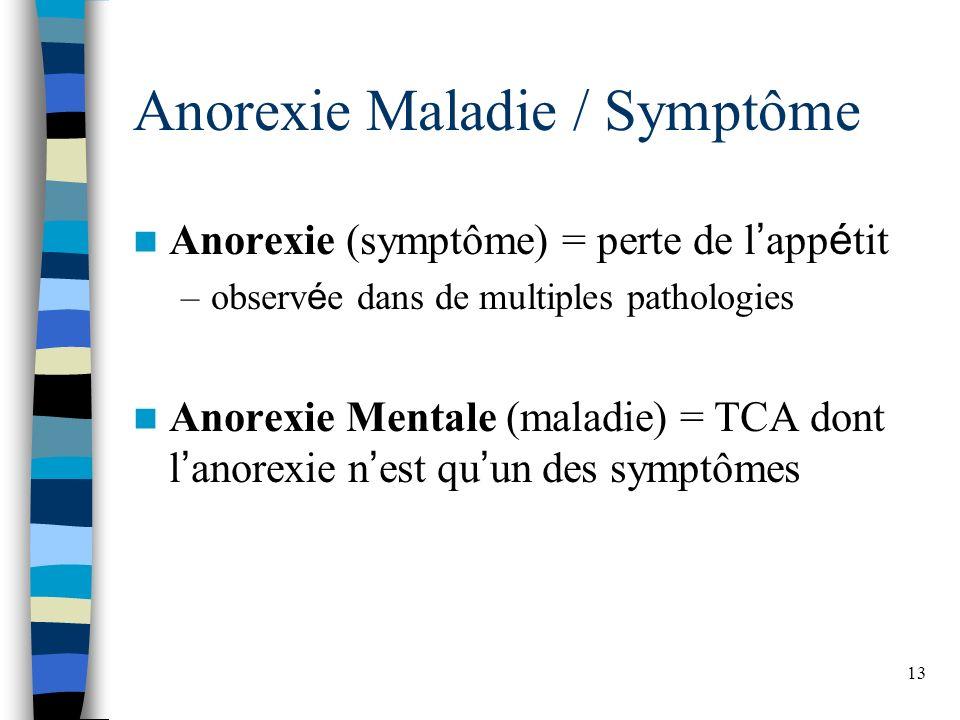 13 Anorexie Maladie / Symptôme Anorexie (symptôme) = perte de l app é tit –observ é e dans de multiples pathologies Anorexie Mentale (maladie) = TCA d