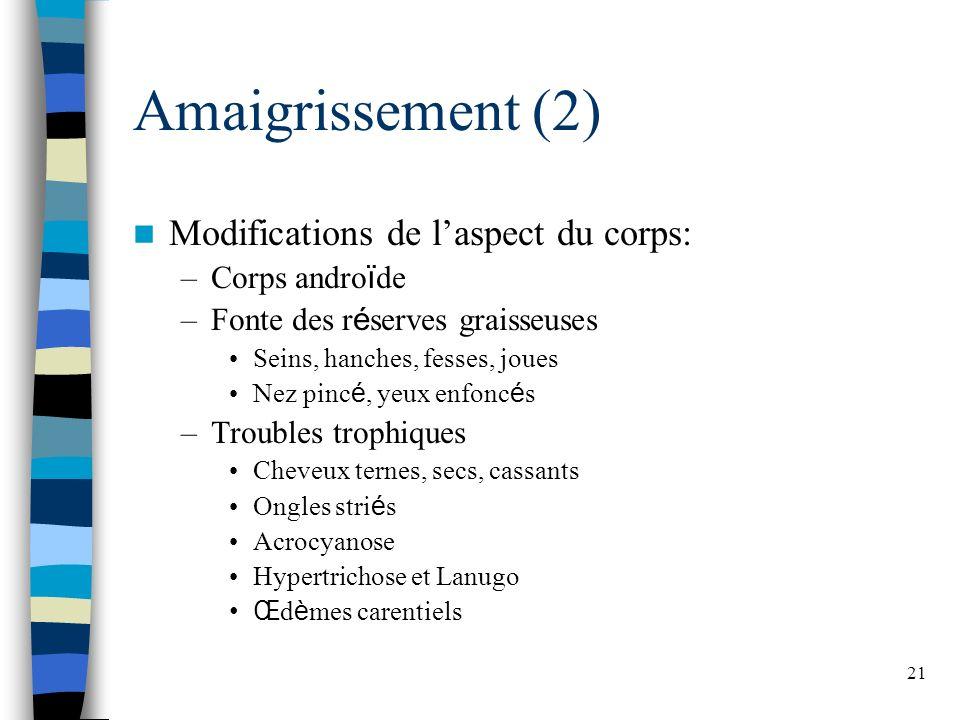 21 Amaigrissement (2) Modifications de laspect du corps: –Corps andro ï de –Fonte des r é serves graisseuses Seins, hanches, fesses, joues Nez pinc é,