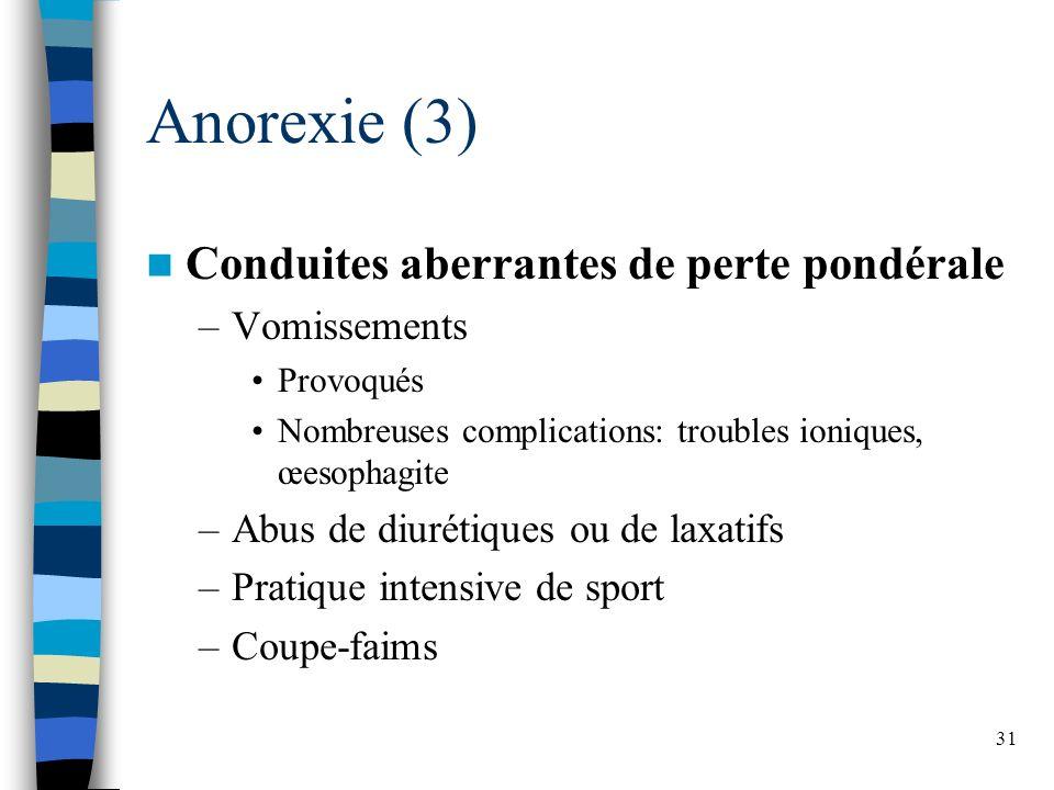 31 Anorexie (3) Conduites aberrantes de perte pondérale –Vomissements Provoqués Nombreuses complications: troubles ioniques, œesophagite –Abus de diur