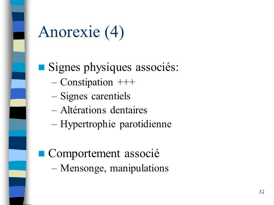 32 Anorexie (4) Signes physiques associés: –Constipation +++ –Signes carentiels –Altérations dentaires –Hypertrophie parotidienne Comportement associé –Mensonge, manipulations