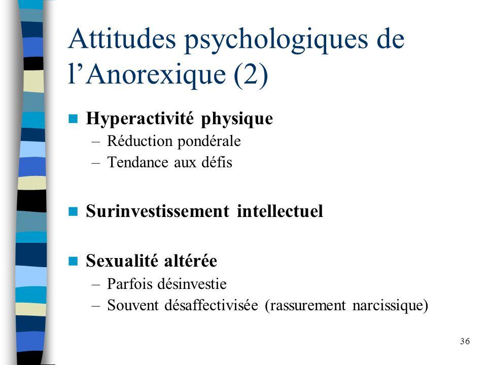 36 Attitudes psychologiques de lAnorexique (2) Hyperactivité physique –Réduction pondérale –Tendance aux défis Surinvestissement intellectuel Sexualité altérée –Parfois désinvestie –Souvent désaffectivisée (rassurement narcissique)