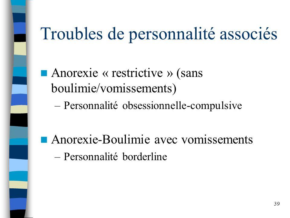 39 Troubles de personnalité associés Anorexie « restrictive » (sans boulimie/vomissements) –Personnalité obsessionnelle-compulsive Anorexie-Boulimie avec vomissements –Personnalité borderline