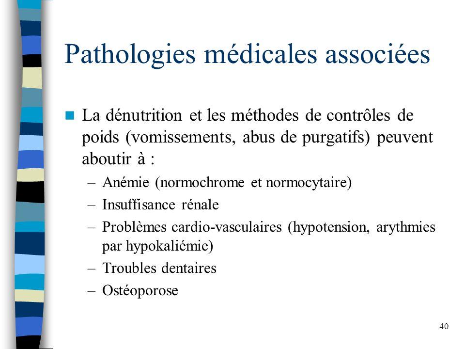 40 Pathologies médicales associées La dénutrition et les méthodes de contrôles de poids (vomissements, abus de purgatifs) peuvent aboutir à : –Anémie