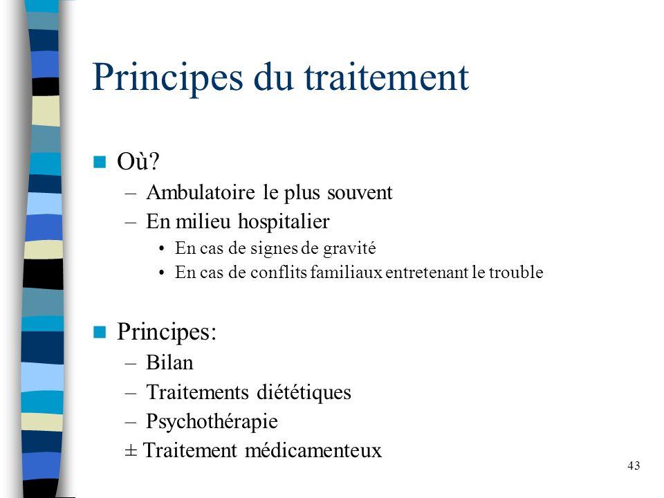 43 Principes du traitement Où? –Ambulatoire le plus souvent –En milieu hospitalier En cas de signes de gravité En cas de conflits familiaux entretenan