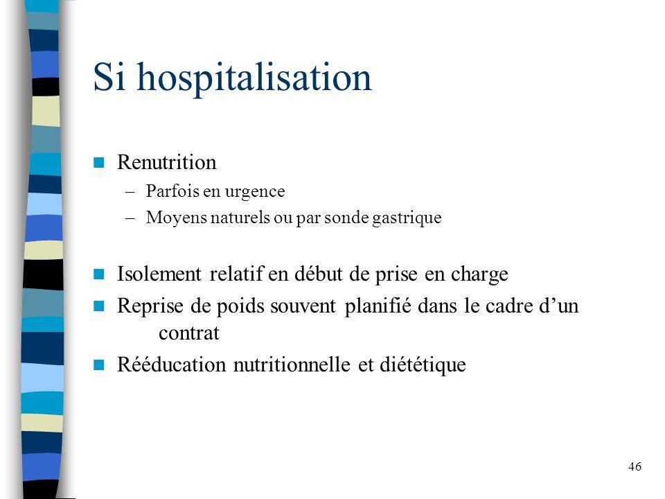 46 Si hospitalisation Renutrition –Parfois en urgence –Moyens naturels ou par sonde gastrique Isolement relatif en début de prise en charge Reprise de