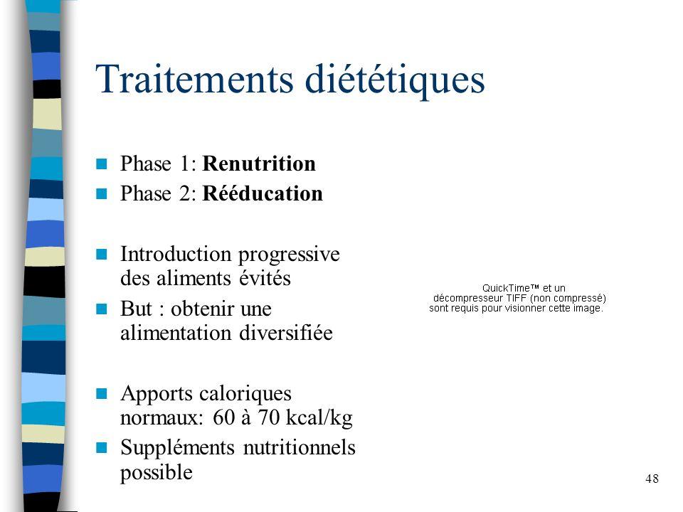 48 Traitements diététiques Phase 1: Renutrition Phase 2: Rééducation Introduction progressive des aliments évités But : obtenir une alimentation diversifiée Apports caloriques normaux: 60 à 70 kcal/kg Suppléments nutritionnels possible