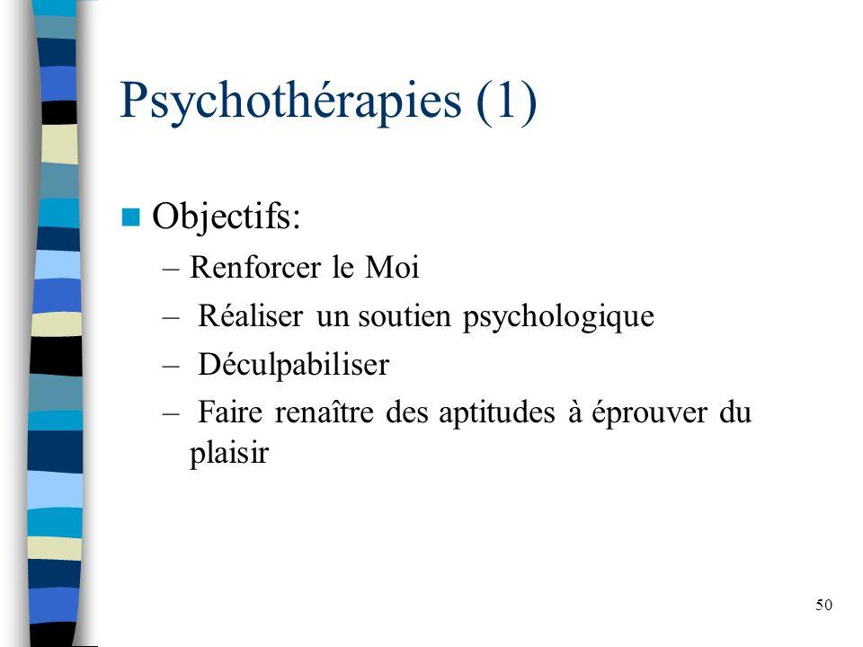 50 Psychothérapies (1) Objectifs: –Renforcer le Moi – Réaliser un soutien psychologique – Déculpabiliser – Faire renaître des aptitudes à éprouver du