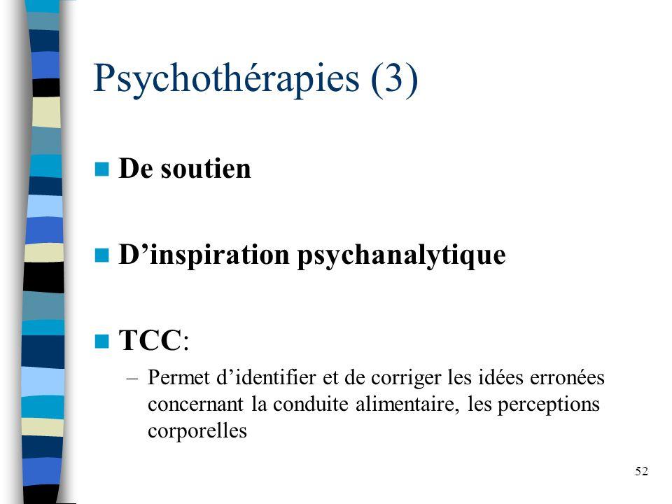 52 Psychothérapies (3) De soutien Dinspiration psychanalytique TCC: –Permet didentifier et de corriger les idées erronées concernant la conduite alimentaire, les perceptions corporelles