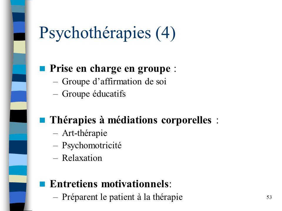 53 Psychothérapies (4) Prise en charge en groupe : –Groupe daffirmation de soi –Groupe éducatifs Thérapies à médiations corporelles : –Art-thérapie –Psychomotricité –Relaxation Entretiens motivationnels: –Préparent le patient à la thérapie