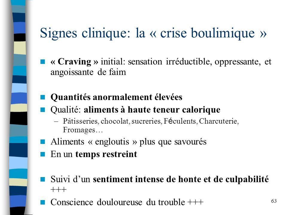 63 Signes clinique: la « crise boulimique » « Craving » initial: sensation irréductible, oppressante, et angoissante de faim Quantités anormalement él