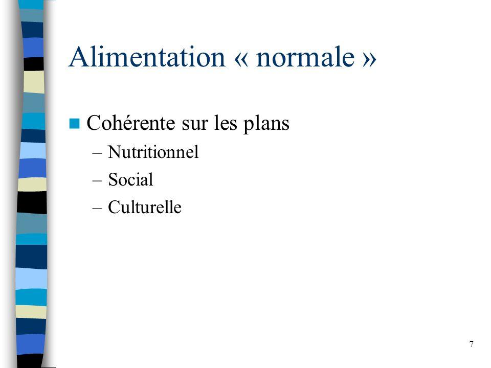 7 Alimentation « normale » Cohérente sur les plans –Nutritionnel –Social –Culturelle