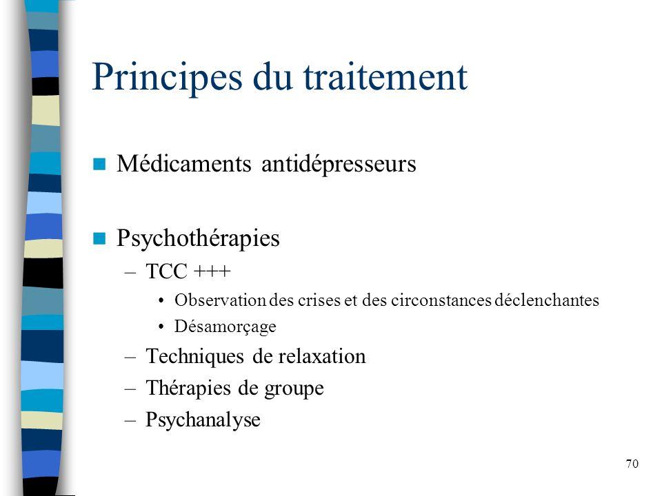 70 Principes du traitement Médicaments antidépresseurs Psychothérapies –TCC +++ Observation des crises et des circonstances déclenchantes Désamorçage –Techniques de relaxation –Thérapies de groupe –Psychanalyse