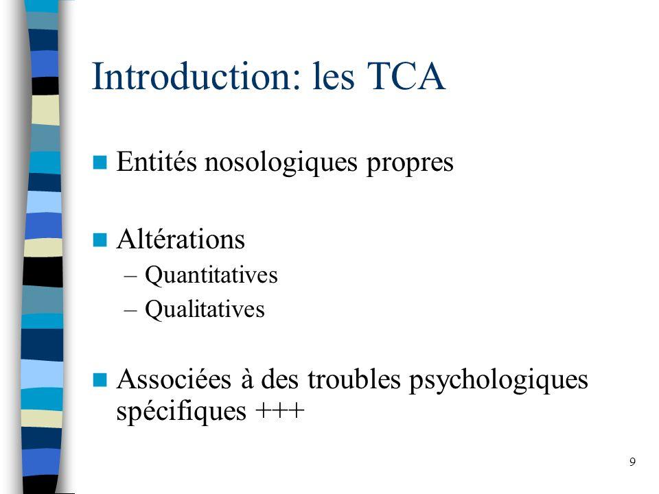 9 Introduction: les TCA Entités nosologiques propres Altérations –Quantitatives –Qualitatives Associées à des troubles psychologiques spécifiques +++