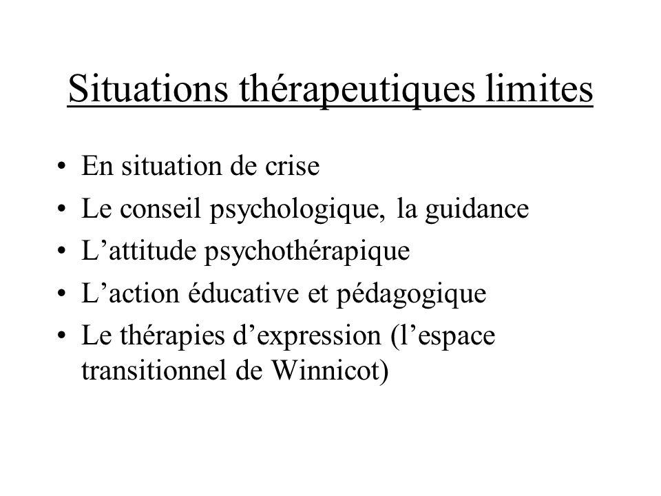 Situations thérapeutiques limites En situation de crise Le conseil psychologique, la guidance Lattitude psychothérapique Laction éducative et pédagogi