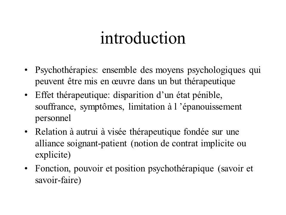 introduction Psychothérapies: ensemble des moyens psychologiques qui peuvent être mis en œuvre dans un but thérapeutique Effet thérapeutique: disparit