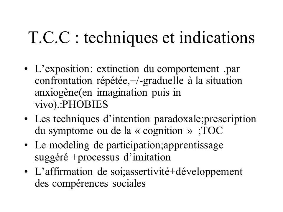 T.C.C : techniques et indications Lexposition: extinction du comportement.par confrontation répétée,+/-graduelle à la situation anxiogène(en imaginati