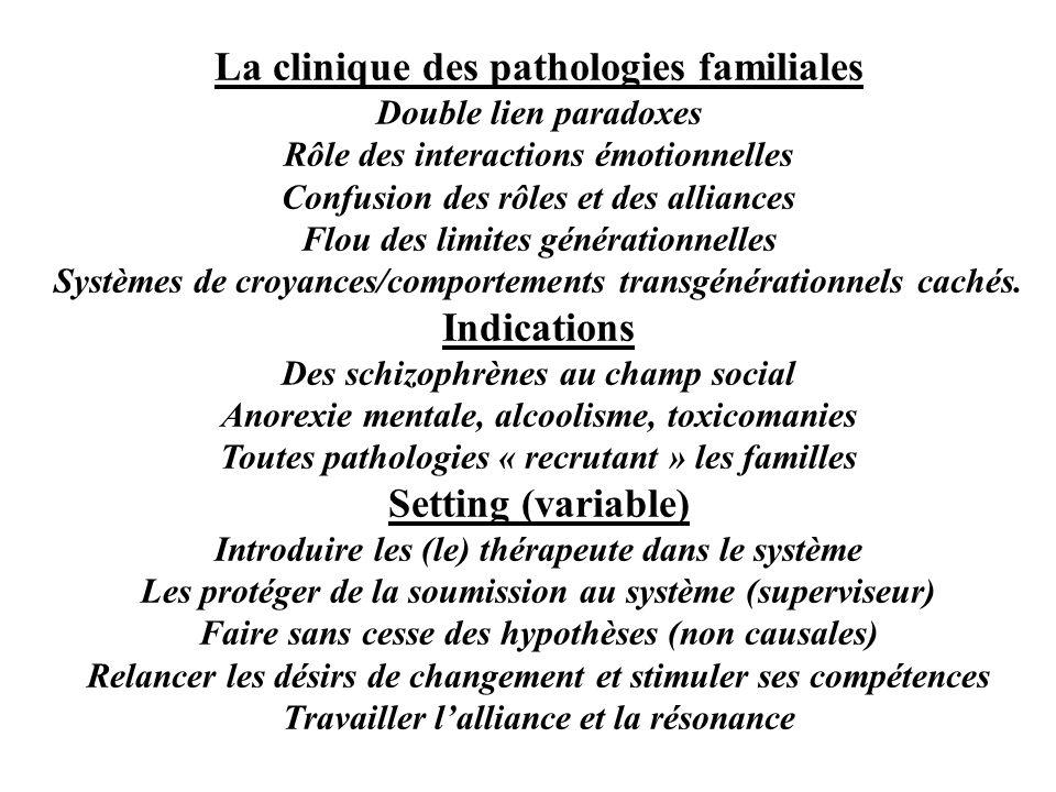 La clinique des pathologies familiales Double lien paradoxes Rôle des interactions émotionnelles Confusion des rôles et des alliances Flou des limites