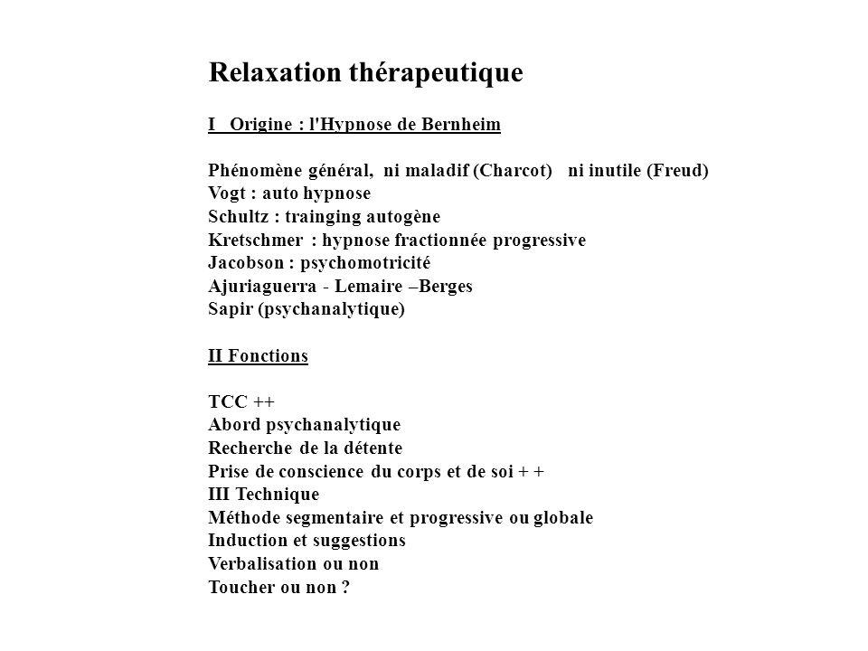 Relaxation thérapeutique I Origine : l'Hypnose de Bernheim Phénomène général, ni maladif (Charcot) ni inutile (Freud) Vogt : auto hypnose Schultz : tr