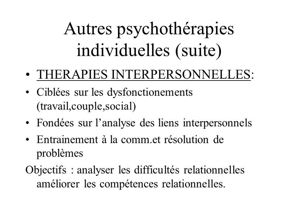 Autres psychothérapies individuelles (suite) THERAPIES INTERPERSONNELLES: Ciblées sur les dysfonctionements (travail,couple,social) Fondées sur lanaly